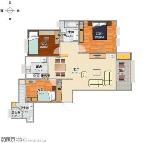 远洋香奈3室1厅3卫1厨88.00㎡户型图