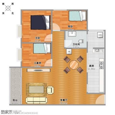 绿茵山庄3室1厅1卫1厨90.00㎡户型图