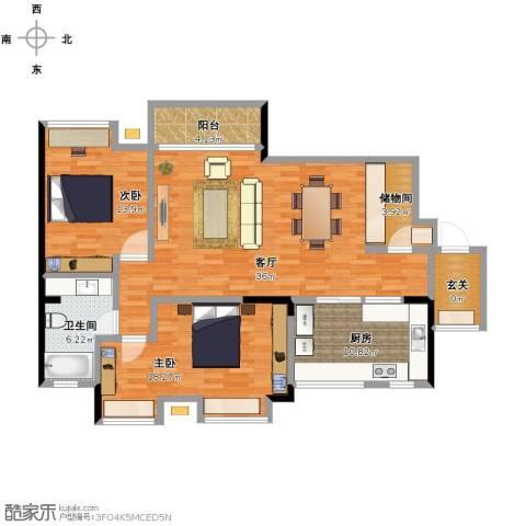 龙湖悠山庭院2室1厅1卫1厨109.00㎡户型图