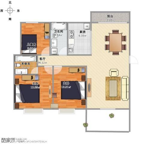 贝越佳园3室1厅1卫1厨94.00㎡户型图