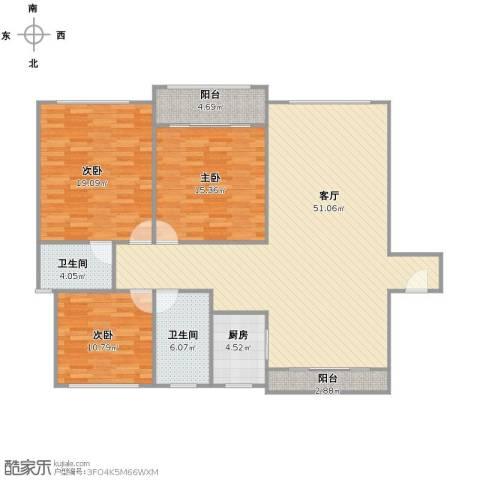 万兆家园3室1厅2卫1厨127.00㎡户型图