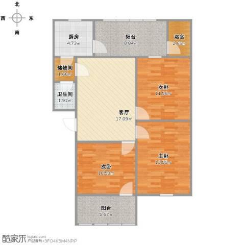 金池小区3室1厅1卫1厨85.00㎡户型图