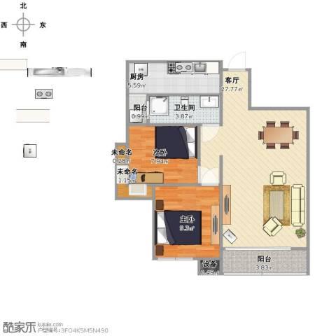 军安卫士花园2室1厅1卫1厨67.00㎡户型图