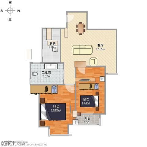 金尧首府2室1厅1卫1厨80.00㎡户型图