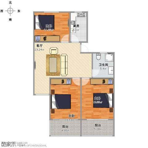 新泾苑3室1厅1卫1厨88.00㎡户型图
