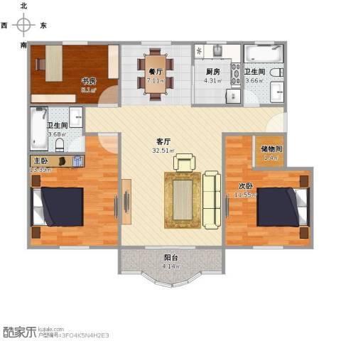 爱建新家园3室1厅2卫1厨90.00㎡户型图