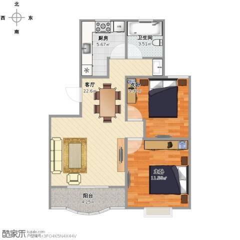 世纪非凡怡园2室1厅1卫1厨62.00㎡户型图