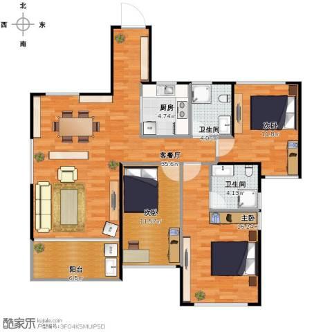 城南尚品3室1厅2卫1厨102.00㎡户型图