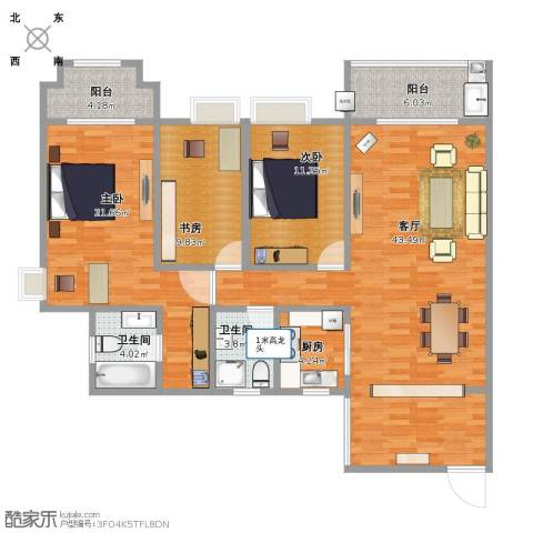 三亚同心家园3室1厅2卫1厨121.00㎡户型图