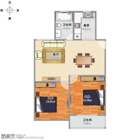 红旗四街坊2室1厅2卫1厨68.00㎡户型图