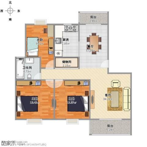 白雪公主3室1厅1卫1厨99.07㎡户型图