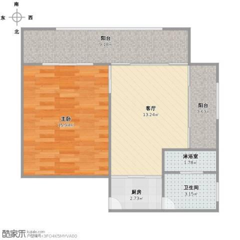 商洛小区1室1厅1卫1厨54.00㎡户型图