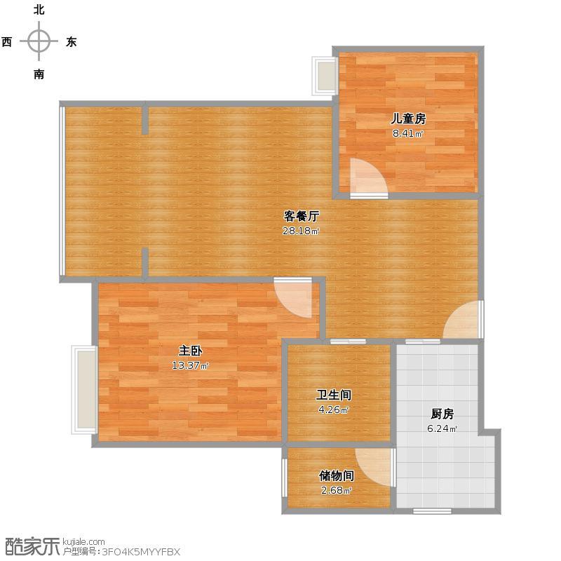 印象欧洲城原图2室2厅1卫80.00㎡6.19户型图