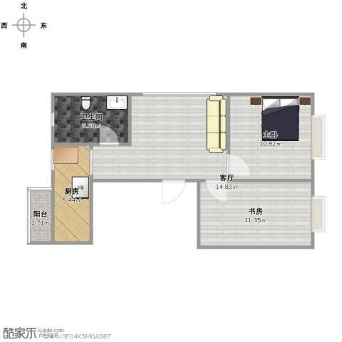 格兰云天2室1厅1卫1厨54.00㎡户型图