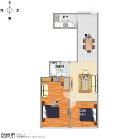 绿园一村2室1厅1卫1厨69.00㎡户型图