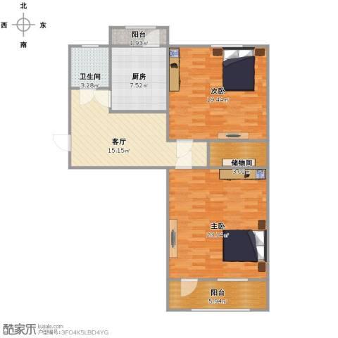 六里山南路宿舍2室1厅1卫1厨86.00㎡户型图
