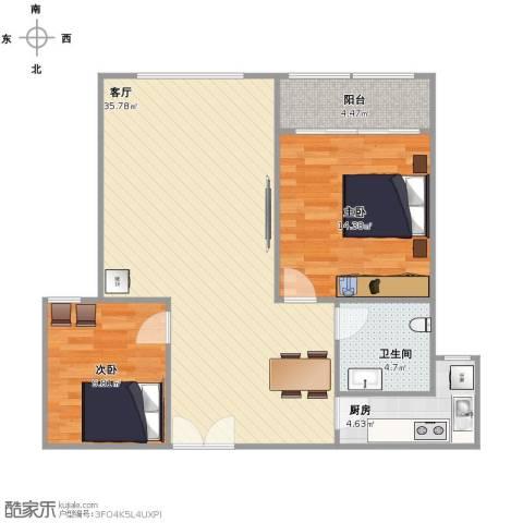 紫金城2室1厅1卫1厨79.00㎡户型图