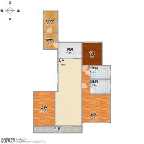 龙湖香醍漫步别墅3室1厅2卫1厨121.00㎡户型图