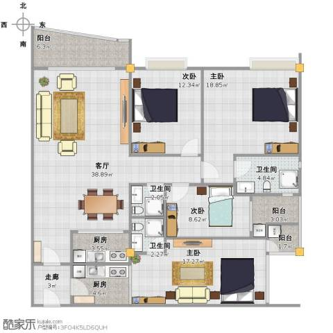 新城国际4室1厅3卫2厨137.00㎡户型图