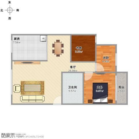 名仕花园3室1厅1卫1厨67.00㎡户型图