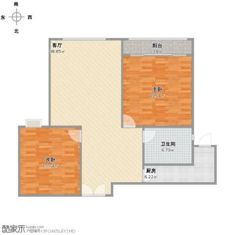 紫金城2室1厅1卫1厨96.00㎡户型图