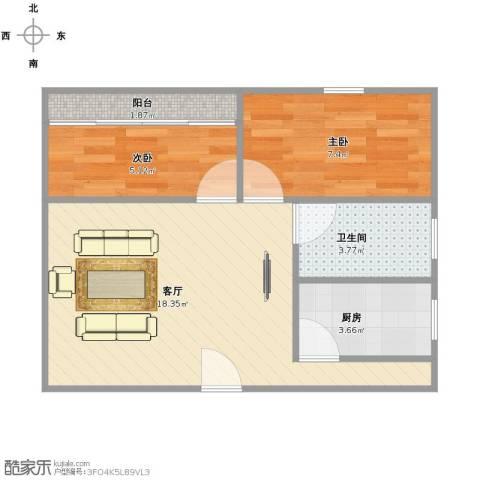 中建文化城2室1厅1卫1厨44.00㎡户型图