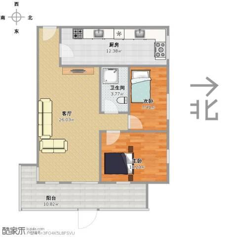燕山小区2室1厅1卫1厨76.00㎡户型图