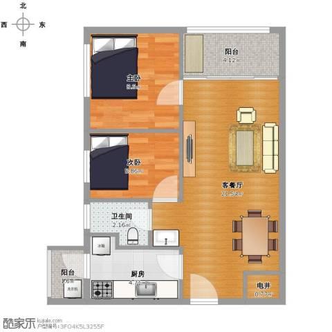 招商锦绣观园2室1厅1卫1厨55.00㎡户型图