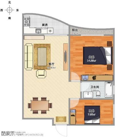 假日香港广场2室1厅1卫1厨68.00㎡户型图