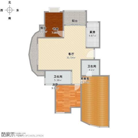 蝶庄2室1厅2卫1厨103.00㎡户型图