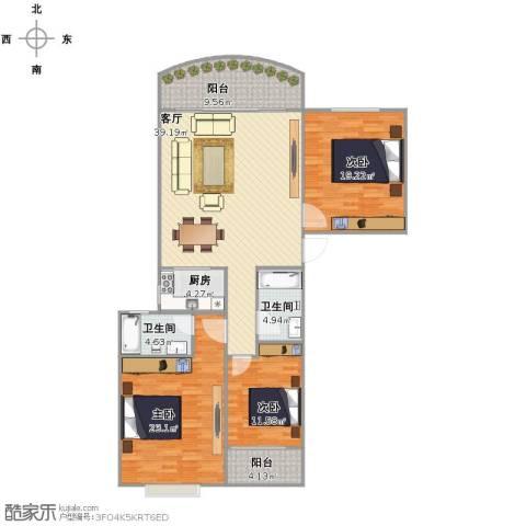 假日香港广场3室1厅2卫1厨129.00㎡户型图
