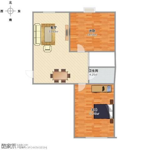 北杜花园二期2室1厅1卫1厨88.00㎡户型图