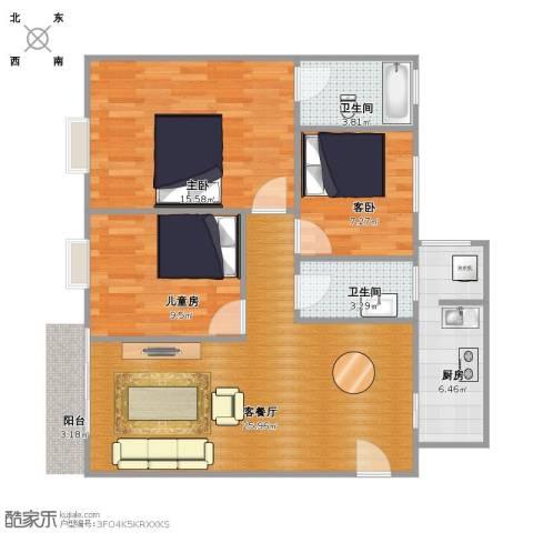 绿茵山庄3室1厅2卫1厨78.00㎡户型图