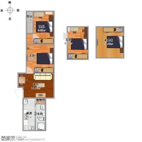 真光四街坊3室1厅1卫1厨69.00㎡户型图