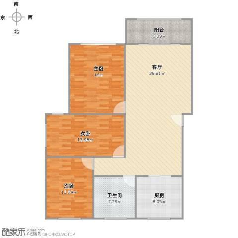 呼玛三村3室1厅1卫1厨106.00㎡户型图