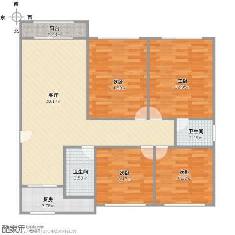 大上海国际花园伦敦园4室1厅2卫1厨89.00㎡户型图
