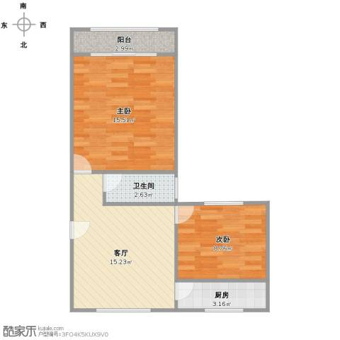 蔷薇二村2室1厅1卫1厨53.00㎡户型图