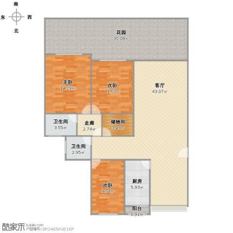 美树铭家3室1厅2卫1厨136.00㎡户型图