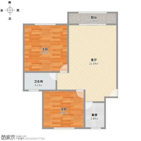 尚城河滨2室1厅1卫1厨56.00㎡户型图