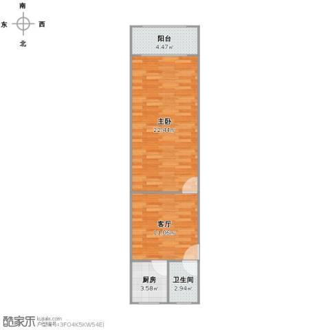 泗塘七村1室1厅1卫1厨47.00㎡户型图