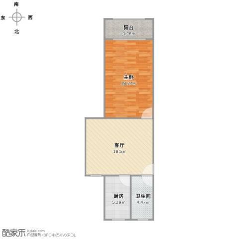 通河一村1室1厅1卫1厨54.00㎡户型图