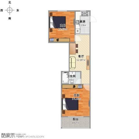 绿园一村2室1厅1卫1厨58.00㎡户型图