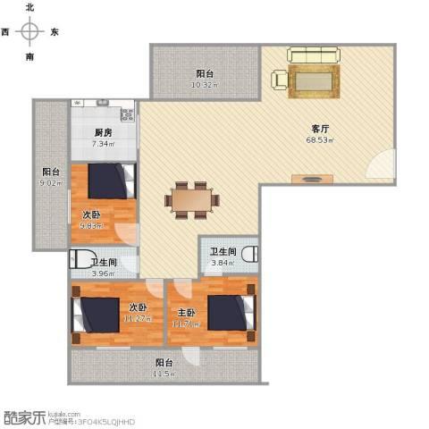 聚祥广场3室1厅2卫1厨156.94㎡户型图