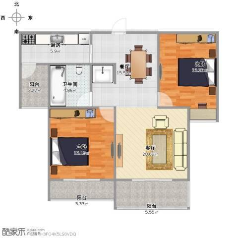 天居玲珑湾2室1厅1卫1厨84.00㎡户型图