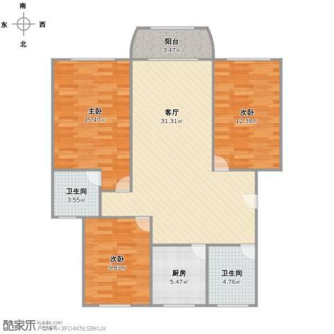 岚皋馨苑3室1厅2卫1厨92.00㎡户型图