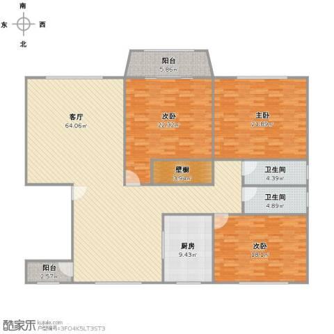 新明星花园二期3室1厅2卫1厨167.00㎡户型图