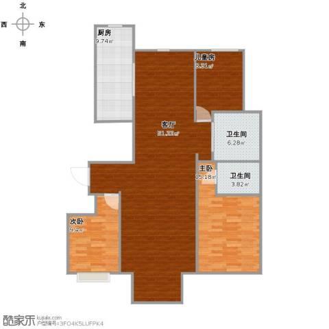 华北星城3室1厅2卫1厨111.00㎡户型图
