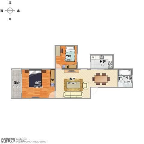 江桥二村2室1厅1卫1厨54.00㎡户型图