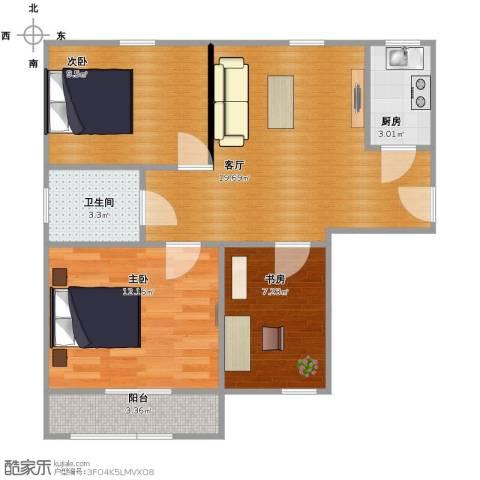 莲花新城・经济适用房3室1厅1卫1厨63.00㎡户型图