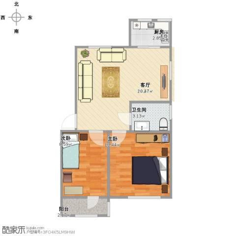 玉峰里2室1厅1卫1厨51.00㎡户型图